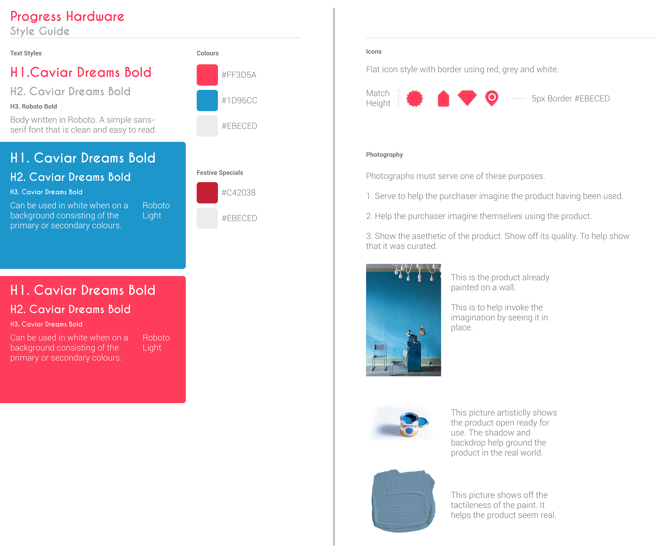 Artboard showing the style guides for the website.