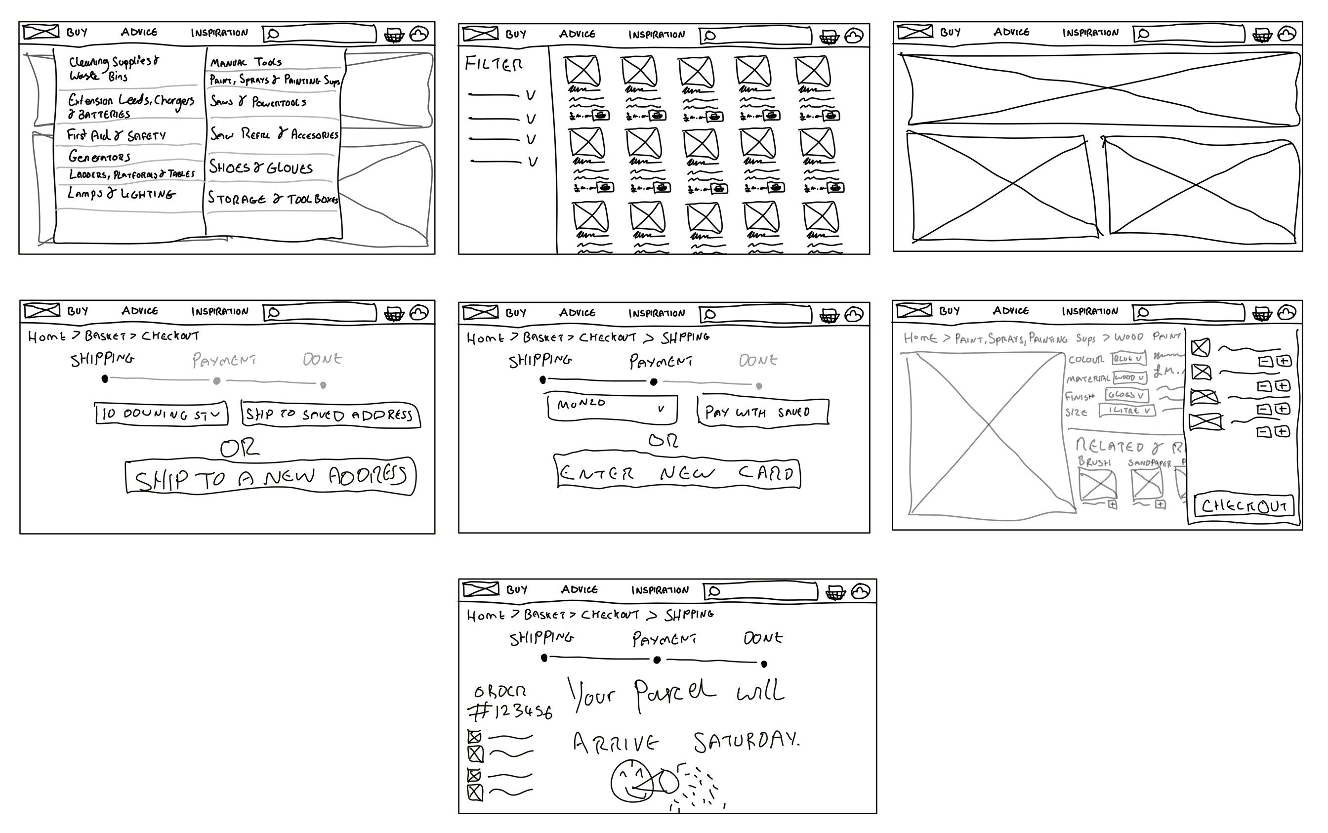 Hand drawn illustrations sketched on an iPad that show the layout for pages on the website.